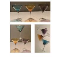 Vintage Colored Martini 8 oz Glasses (Set of 3)