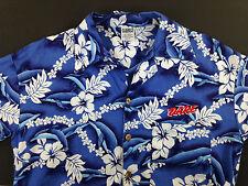 Vintage DARE Men's Small Hawaiian Shirt Blue Floral Dolphins M3M D.A.R.E. Sewn