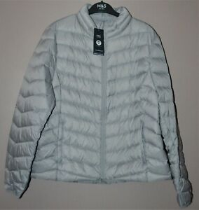 M&S LIGHTWEIGHT DOWN & FEATHER JACKET CONCEALED HOOD & STORMWEAR SIZE 18 - BNWT