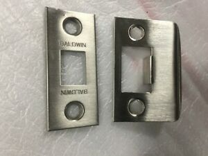 Baldwin Images Estate Latch Face plate and Strike Plate Satin Nickel 150