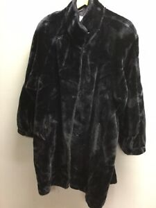 Vintage Look Black Faux Fur Long Winter Coat NIEDIECK JOLIPEL UK 14