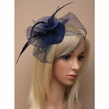 Navy blue skull cap and veil fascinator comb, for weddings, races, prom