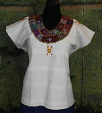 Hand Woven & Embroidered Huipil Pinotepa Oaxaca Mexico Critters Bugs Hippie Boho