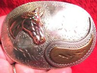 VINTAGE Quality Hand Engraved 3 Layer Horse Head Heavy Western Belt Buckle