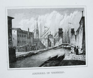 Venice Venezia Arsenal Italy Italia Old Steel Engraving 1842 29