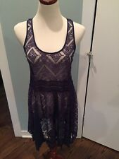 Eloise From Anthropologie Blue Lace Slip Dress Nwot Small