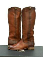 Frye Women's Melissa Button 2 Cognac Leather Riding Boots Size 7.5 New w/Box