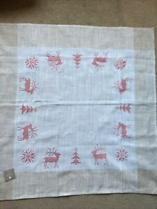 Christmas Table Topper Reindeer Snowflake Natural Linen Cream Tablecloth Holiday