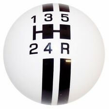 Rally 5 Speed White w/ Black Stripes shift knob M10-1.25 th