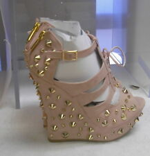 "new lady Blush/Gold Spikes 5""Wedge Heel 1.5""Platform Open Toe Sexy Shoes Size 6"