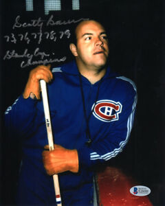 SCOTTY BOWMAN SIGNED 8x10 PHOTO +HUGE MONTREAL CANADIENS INSCRIPTION BECKETT BAS