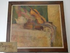 Anna Pagani Grande QUADRO NATURA MORTA VIOLINO TEIERA OLIO SU TELA 1979 93X82 cm