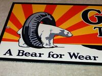 "VINTAGE GILLETTE TIRES AND TUBES+ BEAR  15"" METAL GASOLINE & OIL SIGN PUMP PLATE"