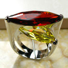 Huge Garnet Citrine Silver Plated Ring | Size 6 7 8 9 10 | Global Free Shipping
