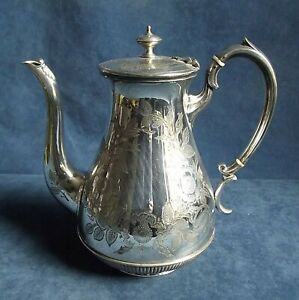 GOOD Ornate ~ SILVER Plated ~ ENGRAVED Bulbous TEAPOT ~ c1890 by Mappin & Webb