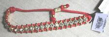 NWT Juicy Couture RED GOLD PLATED RHINESTONE FRIENDSHIP CORDED BRACELET Crystals