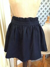 ASOS Jet-Black Wool-Blend Girly RUFFLED Short Full SKATER Skirt 14 UK, 10 US