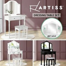 Artiss Dressing Table Stool Set Mirror Drawers Jewellery Cabinet Makeup White