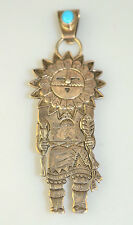 VTG NAVAJO F. CHARLEY STERLING SILVER SUN FACE KACHINA TURQUOISE PIN OR PENDANT