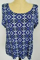 Chico's Travelers Size 3 Blue Slinky Geometric Short Sleeve Women's Top Shirt