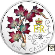 2018 $20FINE SILVER COIN QUEEN ELIZABETH II-MAPLE LEAFS BROOCH WITH PEARL(18446)