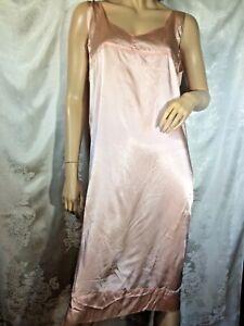 Vintage slipper Rayon satin Nightgown 30s sleeveless L XL tea rose Pink midi