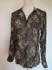 Rüschen Krinkle Crash Hemdbluse Bluse s.Oliver 36 Blumen braun wie NEU /M