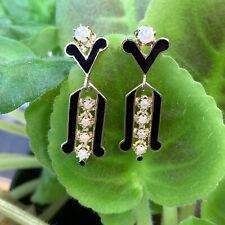 Vintage 14K Gold Enameled Dangle Earrings