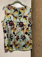 St. John Floral Silk Sleeveless Tank Top Sz M Floral Womens