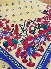 """WILLIAMS SONOMA Printed Tablecloth Red, Yellow, Blue & Green Floral - 70"""" x 90"""""""