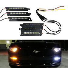 White/Amber LED DRL Board Lighting Kit w/Sequential Flash For 15-17 Ford Mustang