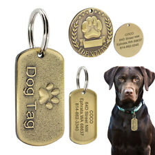 Military/Round 3D Paw Dog Tags Personalised Custom Pet Puppy Name ID Engraved