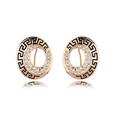 18K ROSE GOLD PLATED CLEAR GENUINE CUBIC ZIRCONIA GREEK SYMBOL STUD EARRINGS