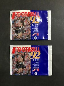 FOOTBALL STICKERS 1992 2 X FULL UNOPENED PACKS