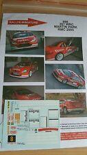 Decals 1/24  réf 898  Peugeot 307 Wrc Martin Park   Monte Carlo 2005