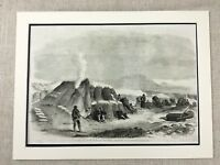 1855 Antique Print The Siege of Sevastopol Crimean War Mortar Battery Military
