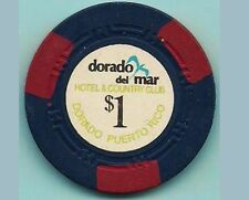 Rare 1973 DORADO DEL MAR Hotel $1 Blue/Red Casino Chip PUERTO RICO H mold DEL1