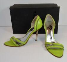 "Gianfranco GF Ferre zipper design lime green 3.5"" heels sandals sz7.5 EUR37.5"