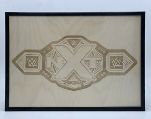 WWE NXT Championship Belt Engraved Wooden Photo Replica A4 Framed Aew Title Sign