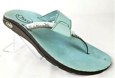 Chaco Size 11 Thong Flip Flop Blue Leather Patterned Beach Sport Sandal Womens