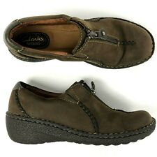 Clarks Artisan Womens 8 N Narrow Zip Moccasin Brown leather comfort shoes 31259