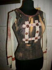 Tee shirt coton marron manches longues beige évasées SAVE THE QUEEN T.S 34 36