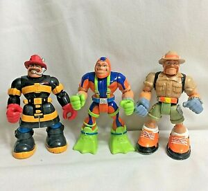 """Lot of 3 2001-2002 Mattel Fisher Price RESCUE HEROES 6"""" Inch Action Figures"""