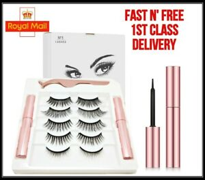 Waterproof Magnetic Eyeliner with Eyelashes and Tweezer 5 Pairs Set Long Lashes
