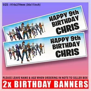 """Personalised FORTNITE NEW Birthday Banner x2 LARGE Any Age, Any Name - 36 """"x 11"""""""