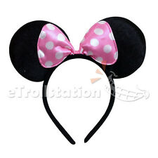Disney Lovely Minnie Mouse Ears Headband Baby Infant Toddler White Dots Pink Bow