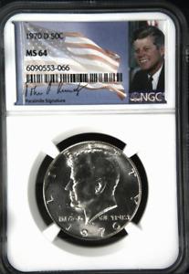:1970-D 50C Kennedy Half Dollar NGC Select-BU MS 64 Kennedy Label Highest-Grades