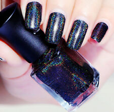 6ml Nail Art Holographic Holo Glitter Polish Super Shine Dark Blue Color Varnish