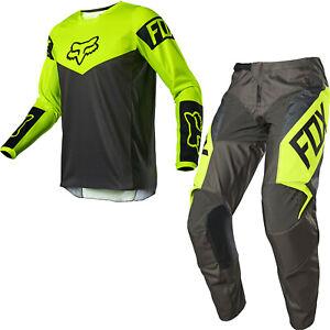 Brand New Fox Adult 180 Revn Flo Yellow Motocross Kit Combo Size 30W M Jersey