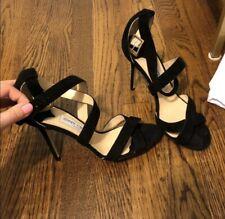 Jimmy Choo Lottie Black Suede Heels Open Toe Size 39